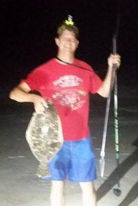 flounder gigging, Gary with doormat flounder